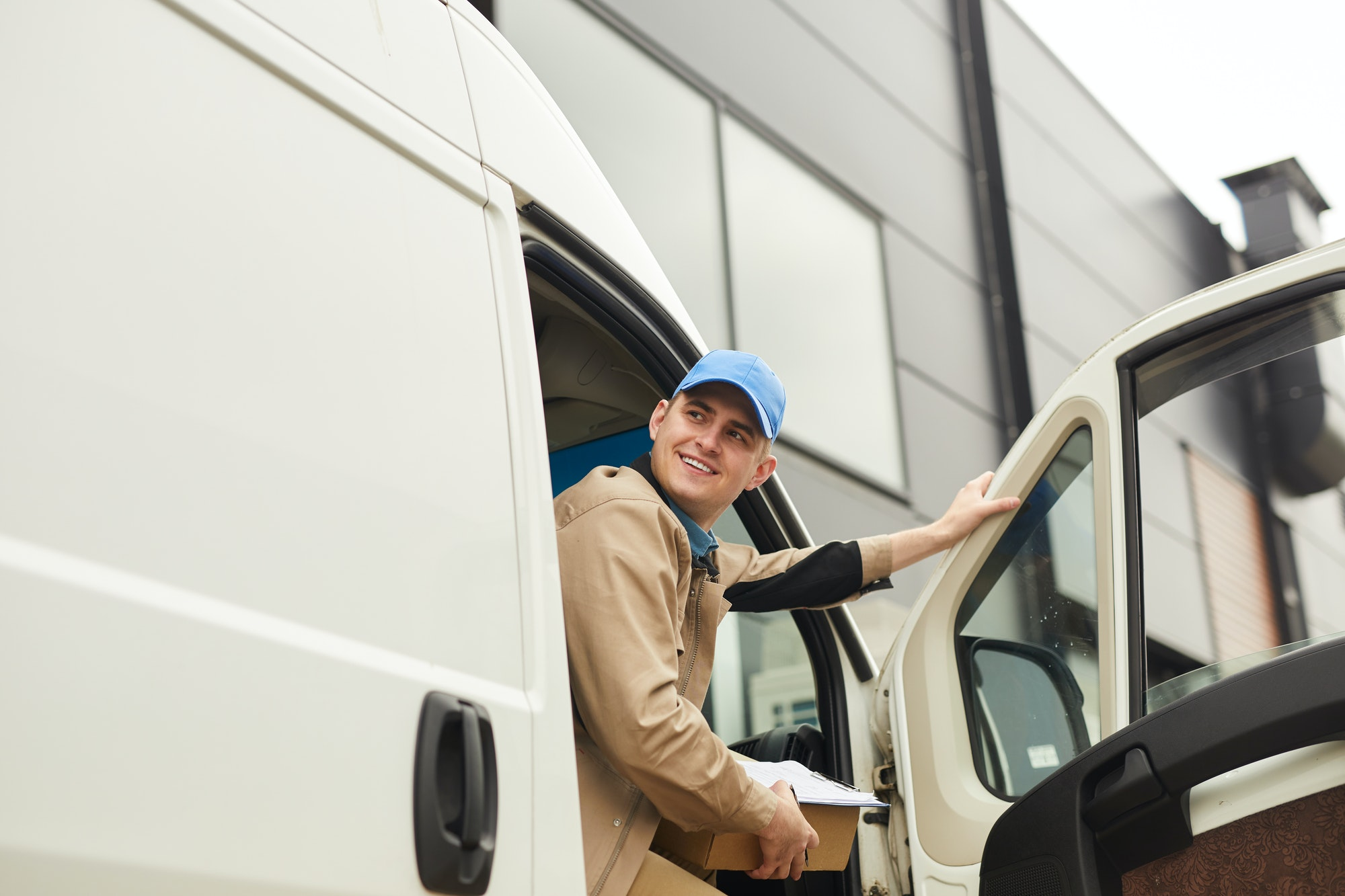 Delivering parcel by the van